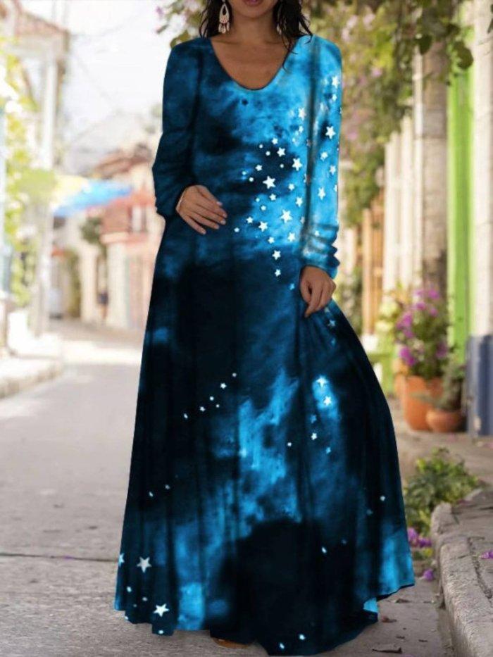 Casual Long Sleeve V-Neck Printed Dress