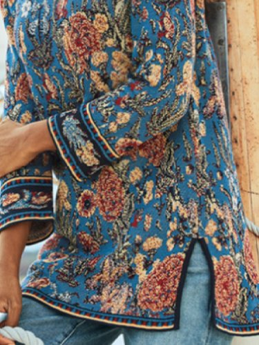 West Styles/Cows Floral Round Neck Long Sleeve Shirts & Tops
