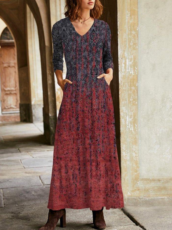 Cashmere V neck printed long sleeve stylish maxi Dresses