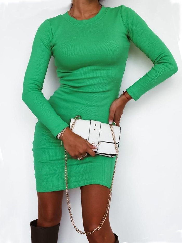 Sexy Solid Round Neck Long Sleeves Dresses
