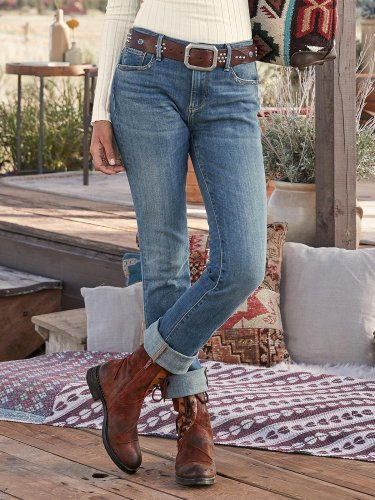 Blue Vintage Denim Pockets Plain Pants