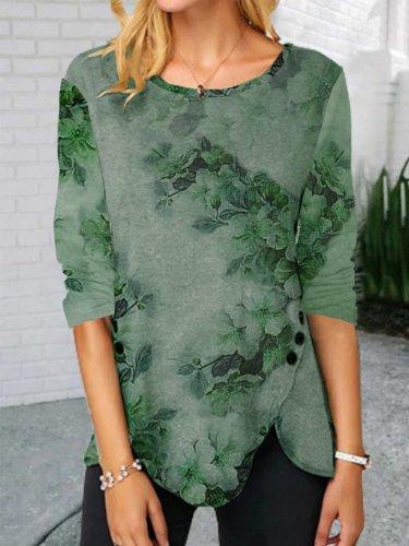 Vacation Floral Green Shirts & Tops
