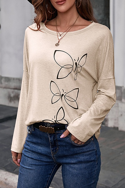 Casual Butterfly Print Split Joint Basic O Neck Tops