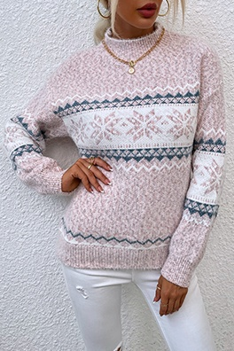 Casual Snowflakes Basic Half A Turtleneck Tops