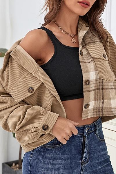 Casual Plaid Pocket Buckle Turndown Collar Outerwear