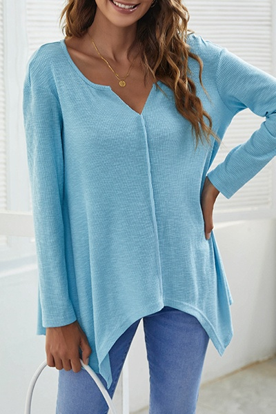 Casual Solid Split Joint Asymmetrical V Neck Tops