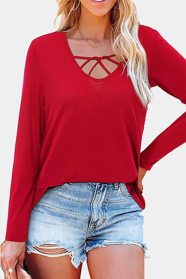 Casual Solid Hollowed Out Split Joint V Neck Tops