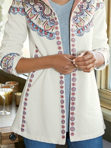 Tribal Printed Long Sleeve Hooded Outerwear