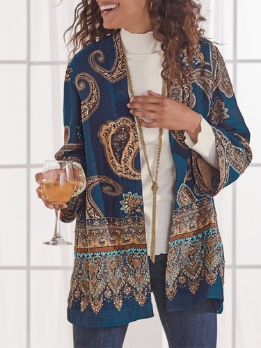 Long Sleeve Tribal Printed Outerwear