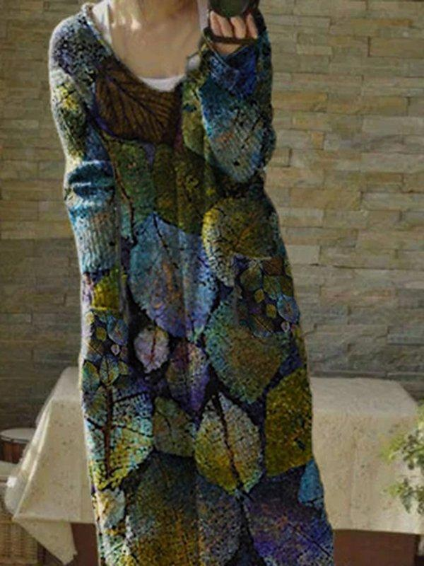 Leaves Printed V Neck Long Sleeve Sexy Dresses