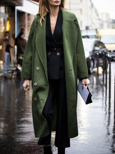 Elegant Lapel Solid Long Sleeve Outerwear