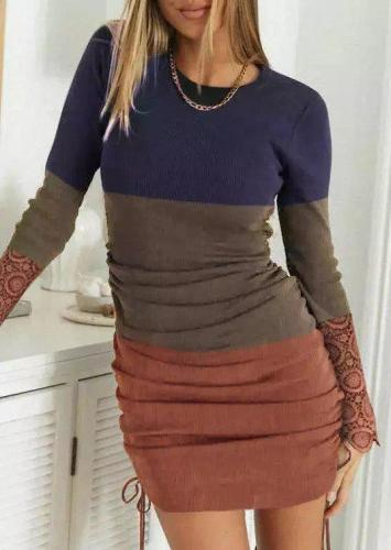 Sexy Solid Crew Neck Long Sleeve Dresses