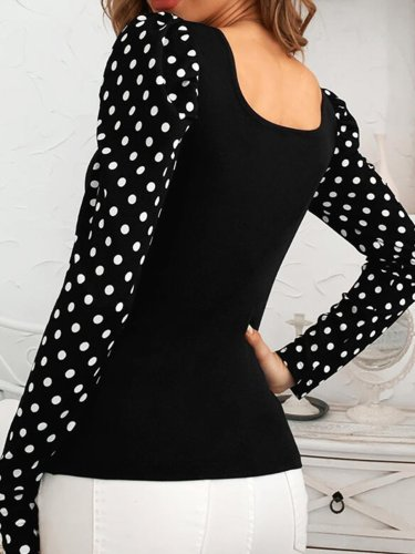 Polka Dots Casual Sexy Shirts & Tops