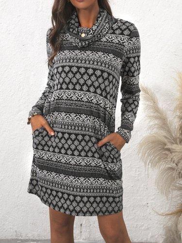 High neck women bohemia style fashion bodycon Dresses