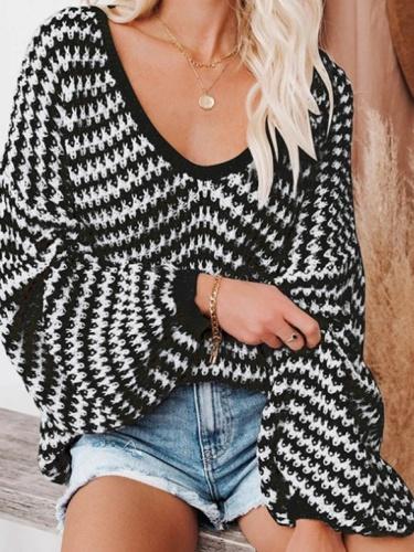 V Neck Shift Long Sleeve Stripes Sweater