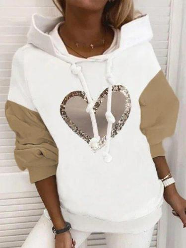 Vintage Shiny Love Heart Color-block Hoodie Long Sleeve Plus Size Casual Sweatshirt