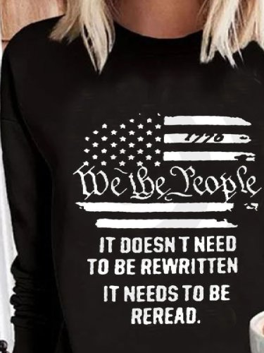 Casual Letter Crew Neck Long Sleeve Shirts & Tops