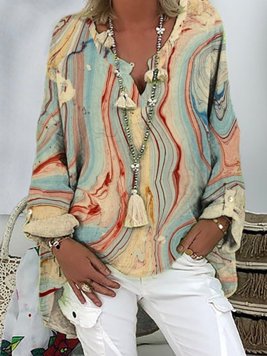 Plus size Printed Casual Long Sleeve Shirts & Tops