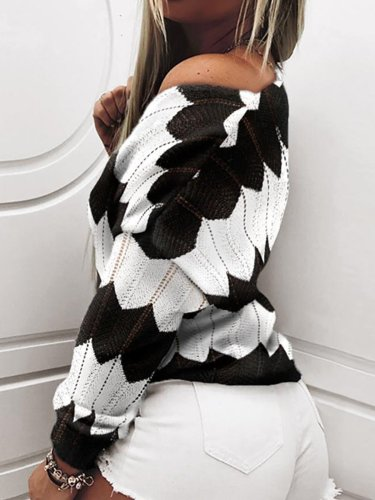 Long Sleeve Casual Color-Block V Neck Sweater