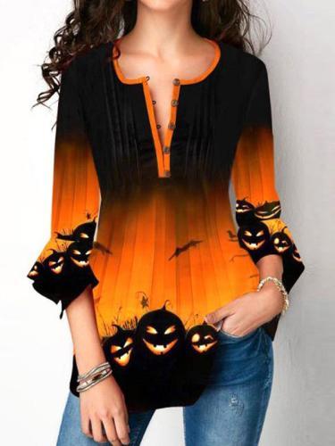 Halloween printed round neck Blouses
