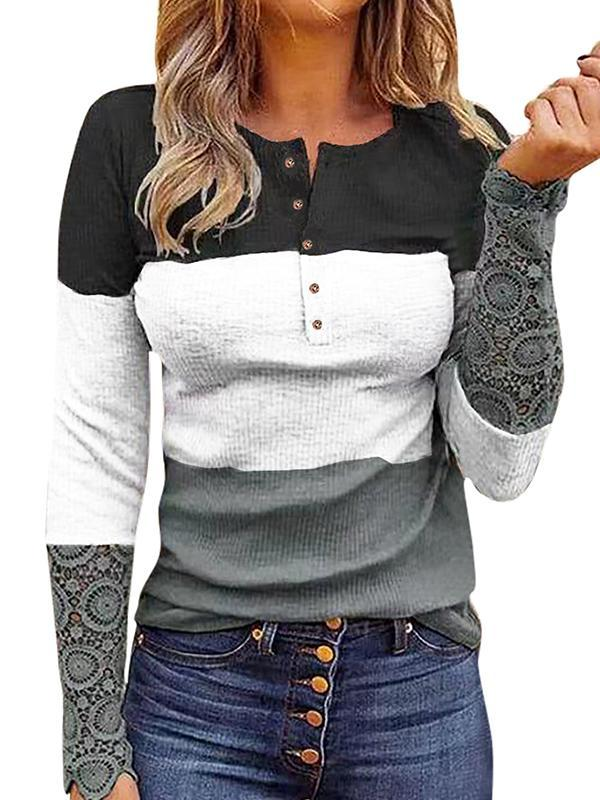 Round neck button design lace sleeve long sleeve T-shirts