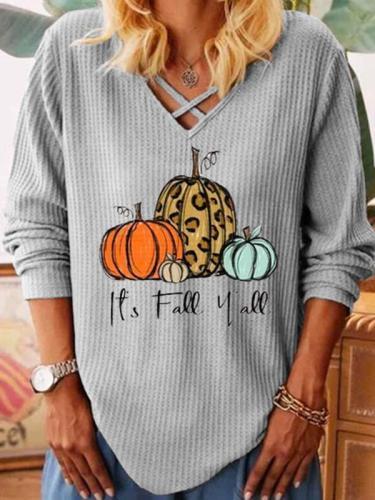 V neck long sleeve halloween design printed women T-shirts