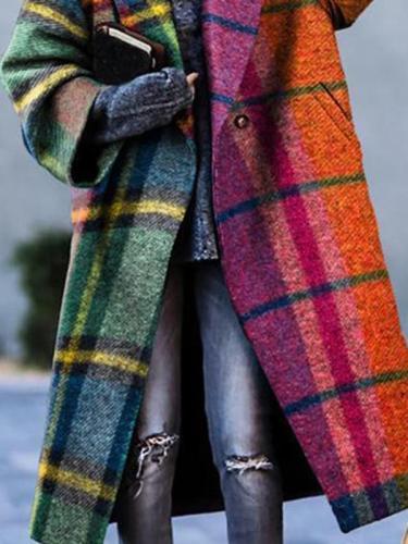 Buttoned Cotton Blends Grid Outerwear Women Coats