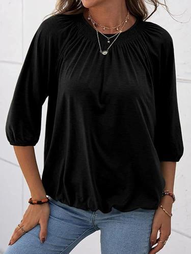 Loose daily women plain round neck three quarter sleeve T-shirts