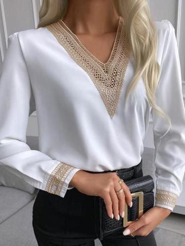 Women v neck lace long sleeve plain elegant blouses