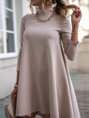 High neck women fashion plain skater dresses
