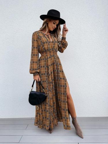 Grid Printed Long Sleeve Waist Slit Maxi Dresses
