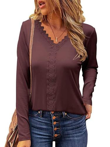V neck lace design long sleeve T-shirts tops for women