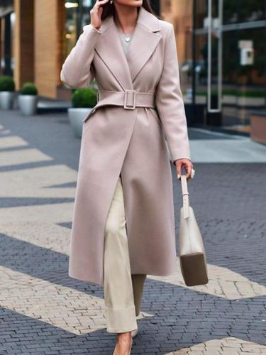 Elegant big lapel women long coats with belt