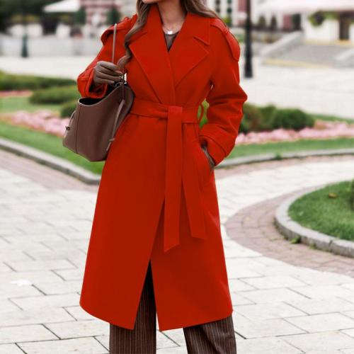 Winter warm elegant women plain slim turn down neck long coats outwear