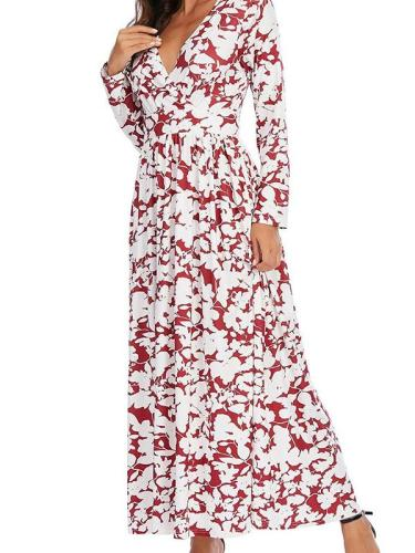 V neck long sleeve slim maxi dresses