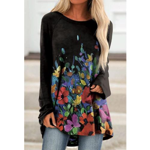 Round neck printed casual long sleeve T-shirts