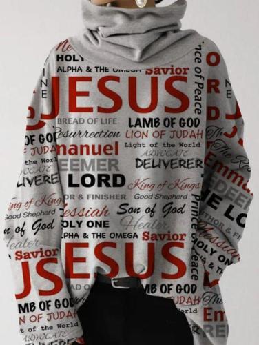Loosen Cowl Neck Letter Sweatshirts