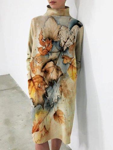 Leaves Printed Casual Vintage Loosen Dresses