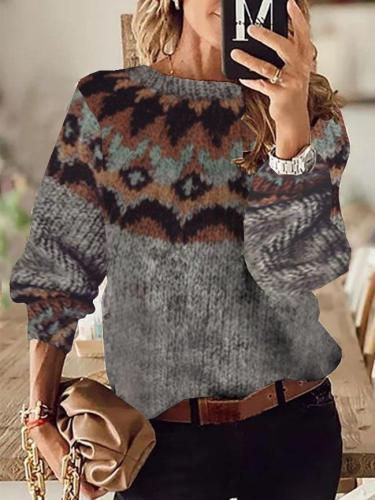 Crew Neck Tribal Boho Sweater