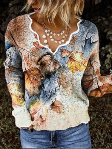 Leaves Printed Casual V Neck Long Sleeve Shirts & Tops