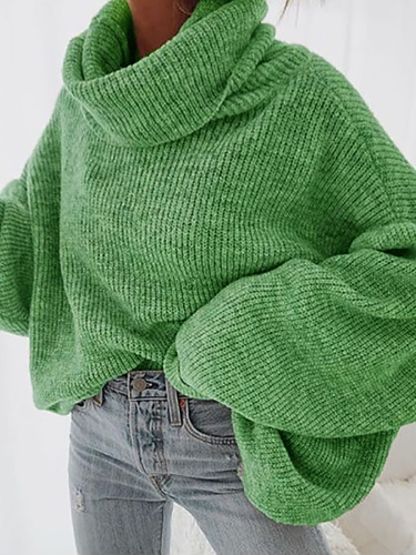 Plus size Casual Plain Loosen Sweater