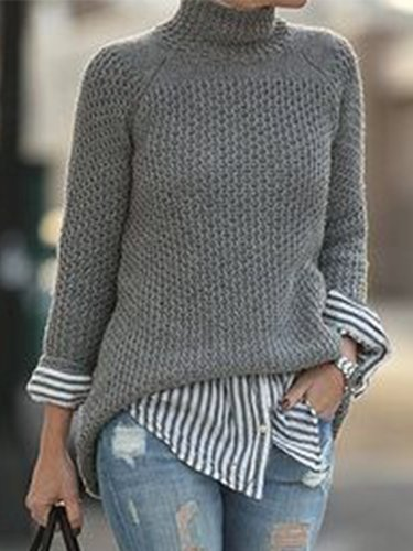 Vintage Plain Long Sleeves Plus Size Casual Sweater
