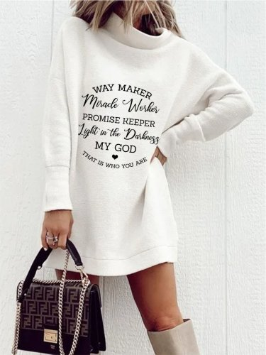 Casual Letter Long Sleeve Dresses