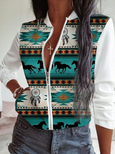 Tribal Cotton Stand Collar Jackets