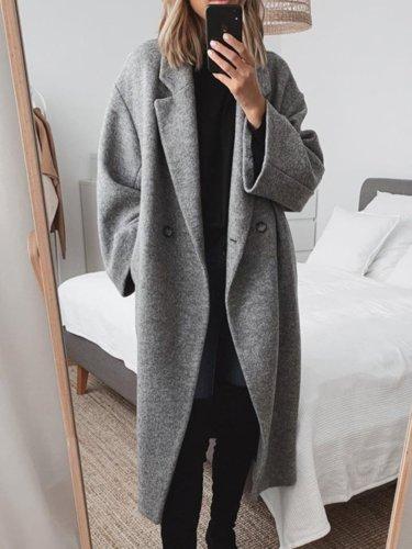 Women Pockets Solid Wool-blend Coat