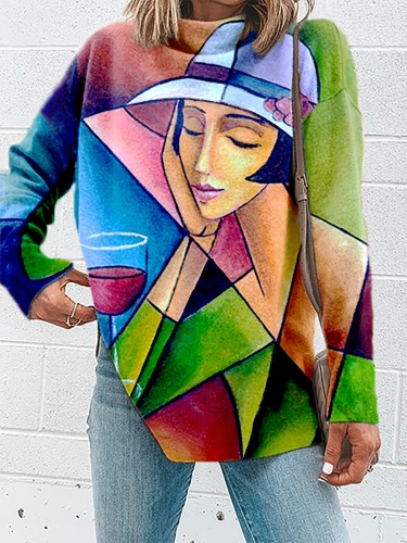 Plus size Abstract Graphic Casual Shirts & Tops