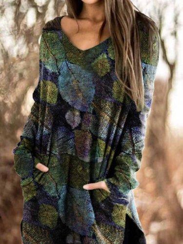 V Neck Long Sleeve Floral-Print Casual Shift Dresses