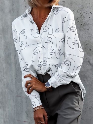 White Hippie Printed Casual Loosen Shirts & Tops