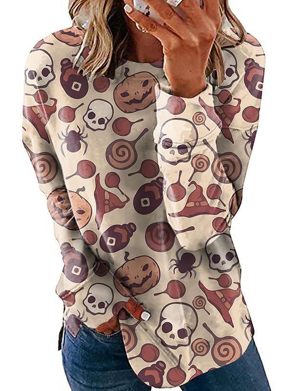 Halloween printed fashion women long sleeve T-shirts
