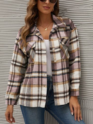 Turn down neck grid women stylish long sleeve inner top blouses